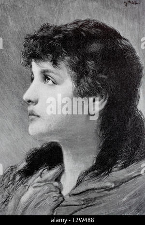 Young dark-haired woman in the profile with longing look, Junge dunkelhaarige Frau im Profil mit sehnsüchtigem Blick - Stock Photo