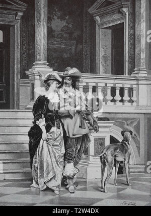 Exit, distinguished pair goes down the stairs of the palace, dog, after a painting of Tito Conti, Ausgang, vornehmes Paar geht die Treppen des Palastes hinunter, Hund, nach einem Gemälde von Tito Conti - Stock Photo