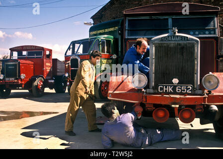 1950's Scammell Highwayman tractor unit being serviced at depot. - Stock Photo