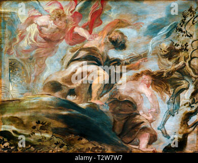 Peter Paul Rubens, Expulsion from the Garden of Eden, Adam and Eve painting, 1620 - Stock Photo
