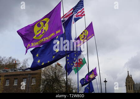 Small numbers of EU and Brexit supporters voice their support at the House of Parliament in Westminster, London, UK. 4th April 2019 - Stock Photo