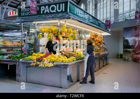 Fruit Stall in the Mercado Central / Mercat Central / Central Market a large indoor market in Valencia Spain - Stock Photo