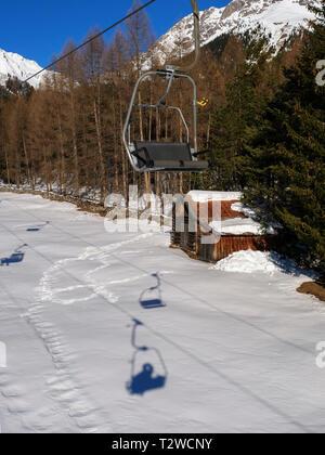 skilift and piste, skiing area Hochimst, Imst, Tyrol, Austria, Europe - Stock Photo