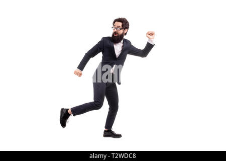 Full length portrait of a run away bearded businessman, isolated on white background - Stock Photo