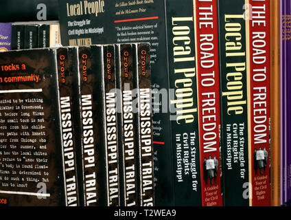 Civil rights history books sit on a shelf in Vickie Malone's senior elective class,  'Local Cultures,' Sept. 21, 2009, in McComb, Miss. The class focu - Stock Photo
