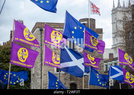 European Scottish and UKIP (UK Independence Party) flags wave outside Parliament, London, UK with Jewel Tower and Westminster Abbey in the background. - Stock Photo