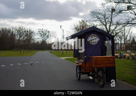 Poznan - Poland / March 16 2019, Mobile bike cafe is waiting for customers to purchase coffee in park - Stock Photo