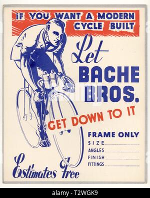 1950's Bache Bros. of Stourbridge, Bicycle Counter top notice or display board, modern cycles built, W. Midlands, U.K. - Stock Photo