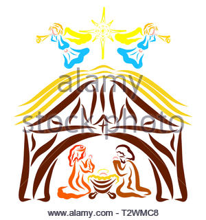 Mary and Josiah pray beside the manger of Jesus, the angels and the star above the stable - Stock Photo