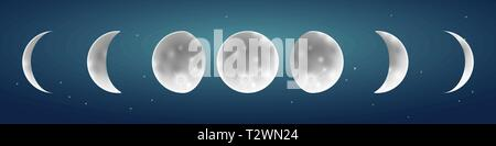 Moon phases in starry sky vector illustration on a starry night ky background - Stock Photo