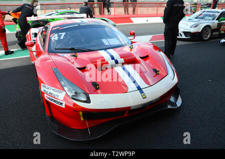 Italy - 29 March, 2019: Ferrari 488 GT3 of Rinaldi Racing Team driven by Andrea Montermini/Andrea Fontana/Wolfgang Triller in action at 12h Hankook. - Stock Photo
