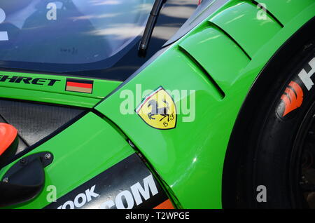 Italy - 29 March, 2019: Ferrari 488 GT3 of Rinaldi Racing Team driven by Pierre Ehret/Rory Penttinen/Martin Berry/Florian Scholze at 12h Hankook. - Stock Photo