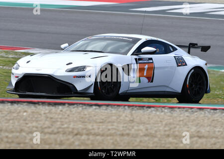 Italy - 29 March, 2019: Aston Martin Vantage AMR GT4 of PROsport Performance Germany Team driven by Rodrigue Gillion/Nico Verdonck/Akhil Rabindra - Stock Photo