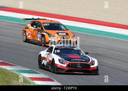 Italy - 29 March, 2019: Mercedes AMG GT3 of Hofor-Racing Switzerland Michael Kroll Team driven by Alexander Prinz/Kenneth Heyer/Christiaan Frankenhout - Stock Photo