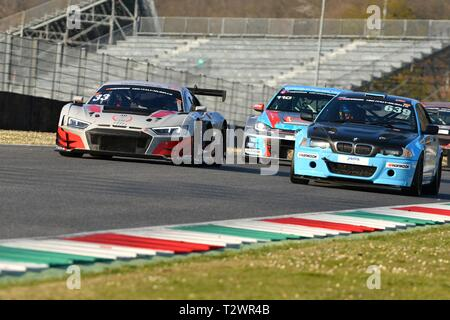 Italy - 29 March, 2019: Audi R8 LMS 2019 of Car Collection Motorsport Germany Team driven by Stefan Aust/Christian Bollrath/Simon Reicher/Peter Schmid - Stock Photo