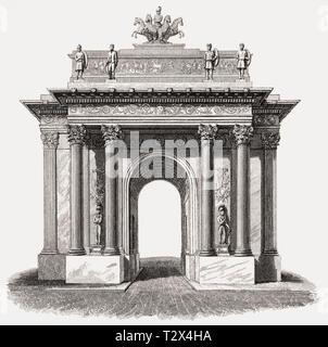 Wellington Arch, Hyde Park, London, UK, illustration by Th. H. Shepherd, 1826 - Stock Photo