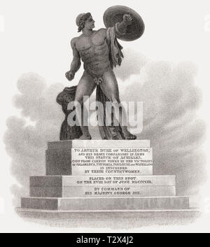 Statue of Achilles, Hyde Park Corner, London, UK, illustration by Th. H. Shepherd, 1826 - Stock Photo