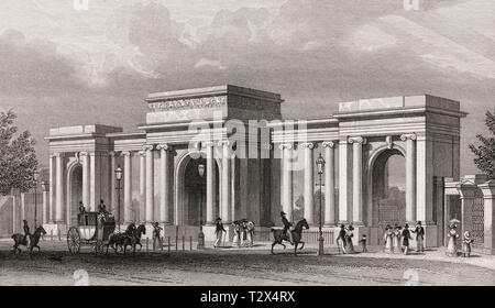 Grand entrance to Hyde Park, London, UK, illustration by Th. H. Shepherd, 1826 - Stock Photo