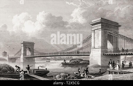 The first Hammersmith Bridge, built in 1827, London, illustration by Th. H. Shepherd, 1826 - Stock Photo