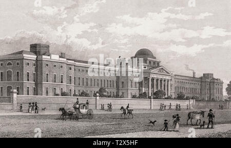 Bethlem Hospital at St George's Fields, London, illustration by Th. H. Shepherd, 1828 - Stock Photo