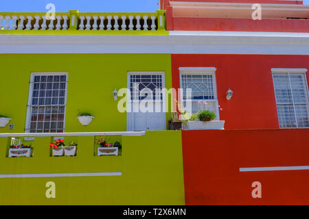 CAPE TOWN, SOUTH AFRICA - MARCH 20 2018: Colorful houses and architectural detail in vibrant multicultural community of Bo Kaap in Cape Town - Stock Photo