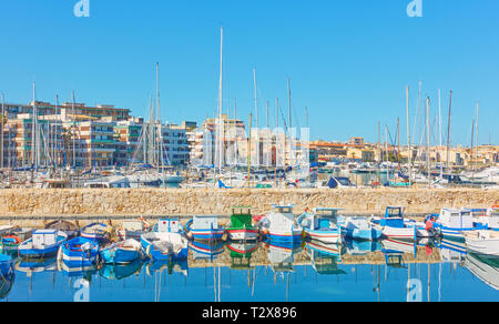 Yachts and boars in the port of Syracuse, Sicily Island, Italy - Stock Photo
