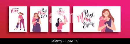Happy Mothers Day greeting card set of cute mother illustrations. Includes pregnant woman, newborn baby and family surprise with special text quotes. - Stock Photo
