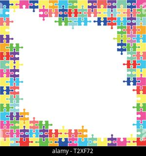 Abstract background of puzzle pieces. Window for text. Vector - Stock Photo