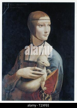 LEONARDO DA VINCI.PORTRAIT OF CECILIA GALLERANI ( LADY WITH AN ERMINE ). 1490.OIL ON WOOD.54.8 CM X 40.3 CM - Stock Photo
