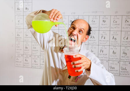 Middle aged caucasian mad professor - Stock Photo