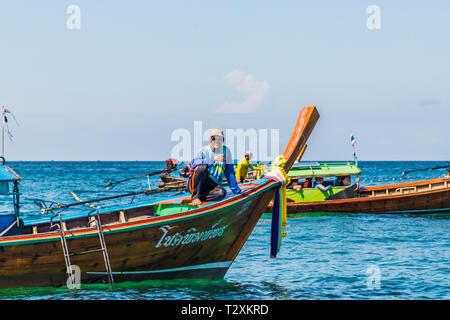 February 2019. Ko Lipe Thailand. A view of long tail boats on Ko Lipe in Tarutao national marine park in Thailand