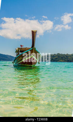 February 2019. Ko Rawi Thailand. A view of long tail boats on Ko Rawi in Tarutao national marine park in Thailand - Stock Photo