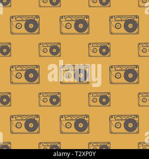 Cassette pattern, music background. Creative and retro style illustration - Stock Photo