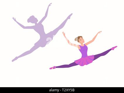 Young ballerina flying high and far with enjoyment in the face. Set of woman dancer and her silhouette on a white background. Vector illustration EPS- - Stock Photo