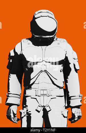 Black and white astronaut  functional extravehicular activity space suit on orange background. Front view close up, line art rendering digital illustr - Stock Photo