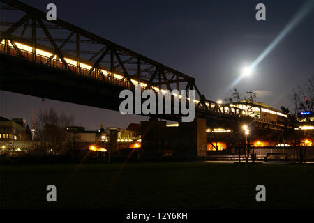 Train Line in the night Berlin - Stock Photo