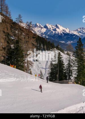 skilift and piste, hillstation Alpjoch, skiing area Hochimst, Imst, Tyrol, Austria, Europe - Stock Photo