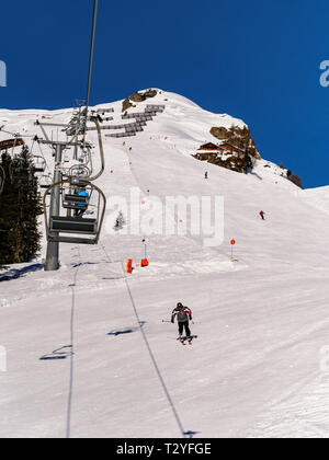 skilift and piste, hillstation Alpjoch, skiing area Hochimst, Imst, Tyrol, Austria, Europe - Stock Photo