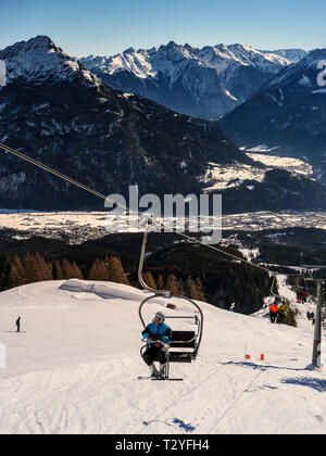 panorama, hillstation Alpjoch, skiing area Hochimst, Imst, Tyrol, Austria, Europe - Stock Photo
