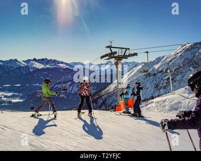 Wintersports at hillstation Alpjoch, skiing area Hochimst, Imst, Tyrol, Austria, Europe - Stock Photo