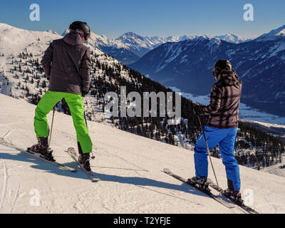 Wintersports at hillstation Alpjoch, skiing area Hochimst, Imst, Tyrol, Austria, Europe - Stock Photo