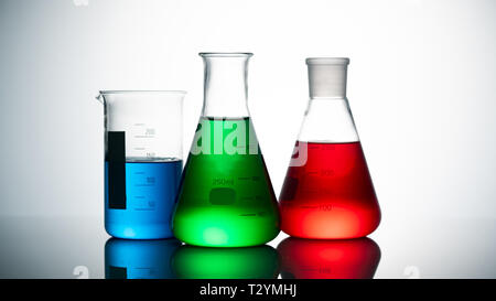 Chemical science glass on white background - Stock Photo
