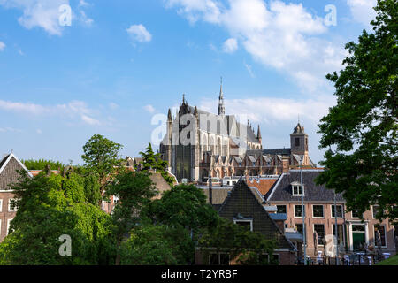 Hooglandse kerk (church) and rooftops in the historic city of Leiden, the Netherlands. - Stock Photo