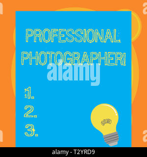 Writing note showing Professional Photographer. Business concept for demonstrating who takes photographs especially as job Light Bulb with Filament In - Stock Photo