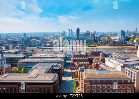 London, UK - May 15 2018: View of London cityscape from the Stone Gallery of St. Paul's Cathedral - Stock Photo