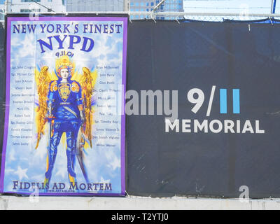 NEW YORK, NEW YORK, USA - SEPTEMBER 15, 2015: a memorial banner to ny fire fighters killed on sept 11 in new york city - Stock Photo