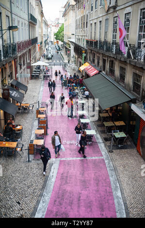 10.06.2018, Lisbon, Portugal, Europe - Elevated view of the Rua Nova do Carvalho, better known as Pink Street, a popular pedestrian street. - Stock Photo