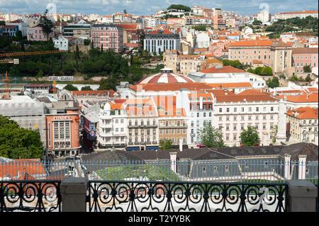 11.06.2018, Lisbon, Portugal, Europe - Elevated view from Miradouro Sao Pedro de Alcantara over historic city district Baixa of the Portuguese capital. - Stock Photo