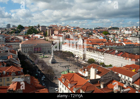 11.06.2018, Lisbon, Portugal, Europe - Elevated view of the Rossio square or Praca Dom Pedro IV with the Teatro Nacional D. Maria II in the backdrop. - Stock Photo