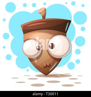 Cute, crazy nuts - cartoon illustration. Vector eps 10 - Stock Photo